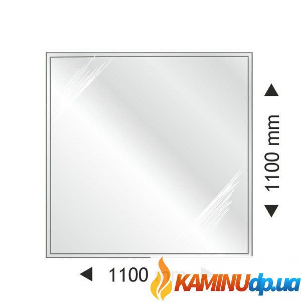 ПОДСТАВКА СТЕКЛЯННАЯ ПОД ПЕЧЬ КВАДРАТНАЯ 1100X1100 ММ